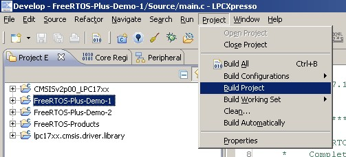 Building project 1 by selecting FreeRTOS-Plus-Demo-1 then selecting Build Project.