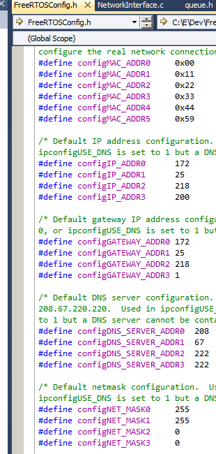 Allocating an IP address to the RTOS node