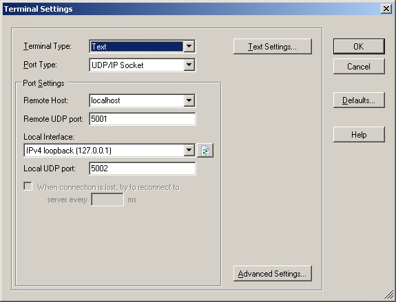 The required UDP command console configuration