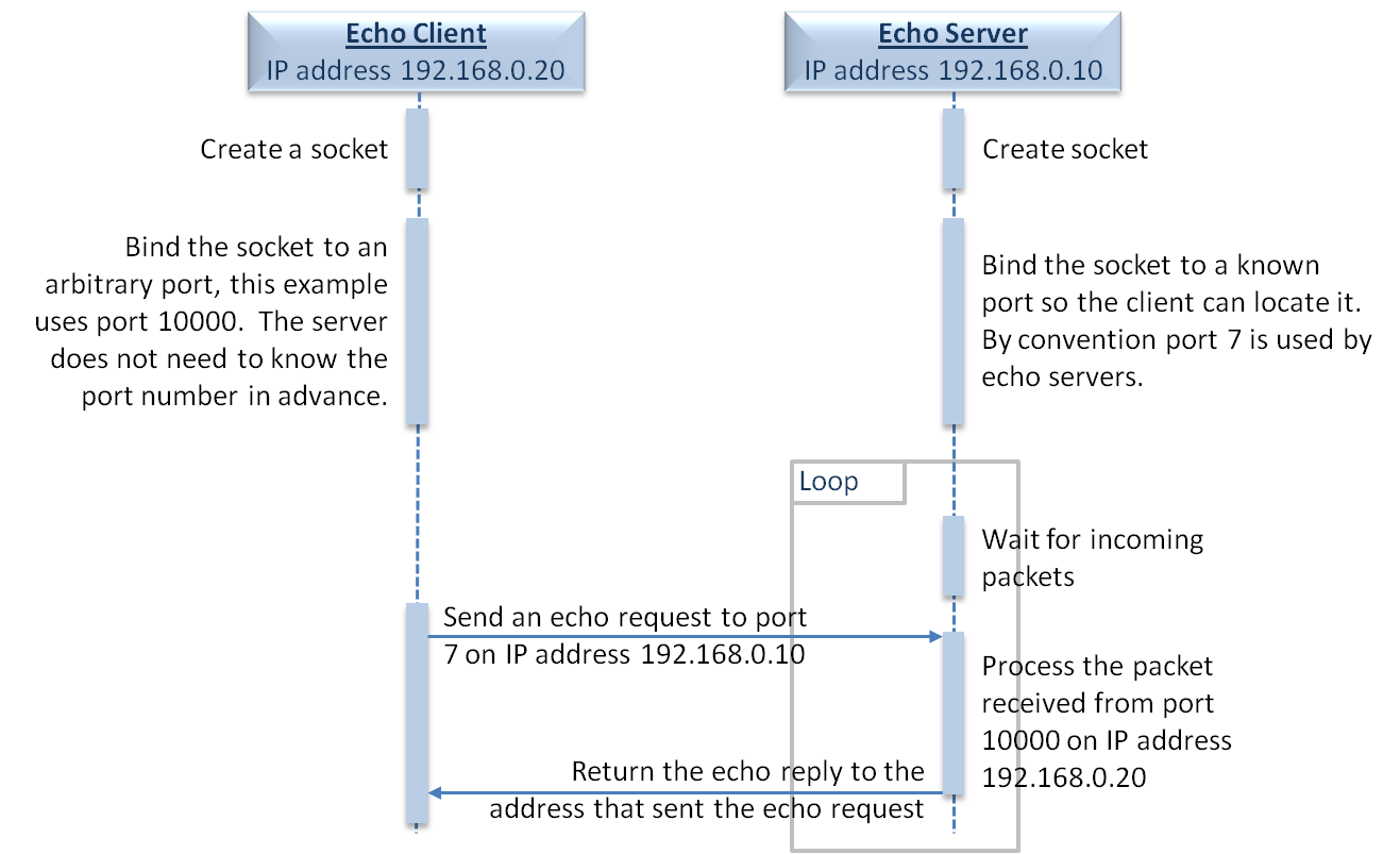 embedded echo clients communicating with a standard echo server
