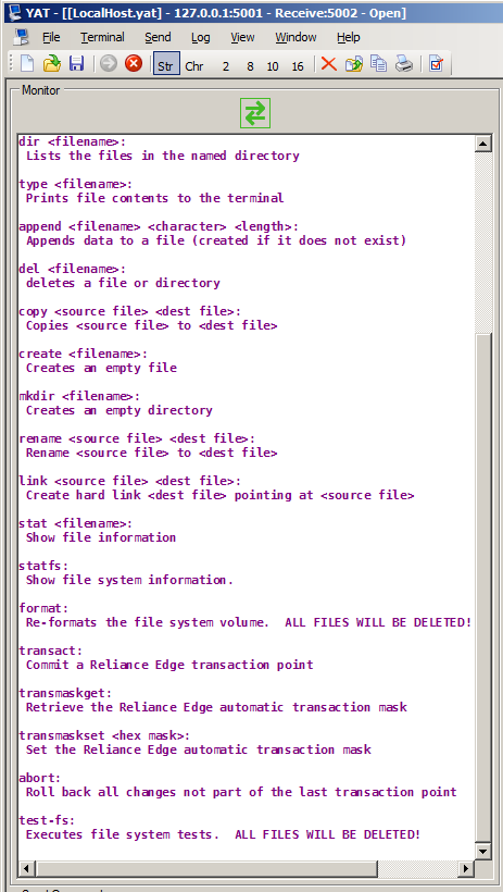 Viewing safety critical file system related RTOS commands